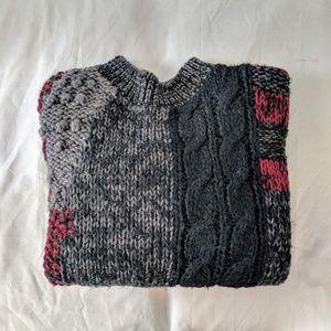 90s Color Block Mock Neck Knit Sweater